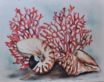 Red coral, nautilas seashell beach painting original ocean art,  beach watercolor painting, coastal art