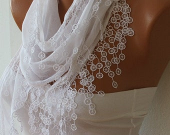 White Scarf  - Cotton  Scarf -  Cowl with Lace Edge   -fatwoman - Bridesmaids Gifts