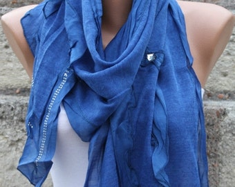 Passover Blue Knitted Scarf Winter Accessories Shawl Cowl Bridal Accessories Bridesmaid Gift Gift Ideas For Her  Women Fashion Accessories