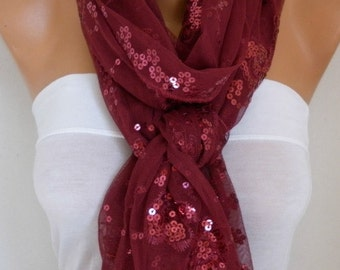 Burgundy Sequin Tulle Scarf Summer Scarf,Wedding Scarf, Cowl Bridesmaid Gift,Bridal Scarf,lace, Gift Ideas for Her Women Fashion Accessories
