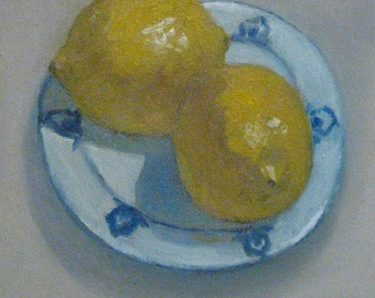 "Sale Lemons Kitchen Original Oil Painting Still Life Blue and White Plate  Modern Impressionist Painting 6x6"" Canvas  Jennifer Boswell"