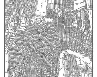 New Orleans Street Map Vintage Print Poster Back & White