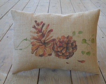 Colored Pinecone Burlap Pillow, Cottage Chic, Rustic Lodge, INSERT INCLUDED