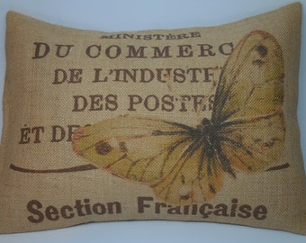 French Butterfly Burlap Pillow, French Postmark brown,  INSERT INCLUDED