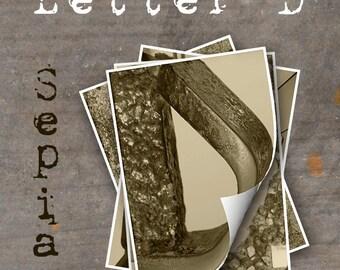 LETTER D Alphabet Photography LETTERS - Sepia Alphabet Photos