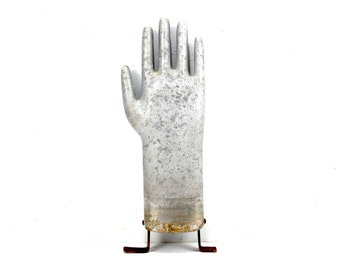 Vintage Aluminum Glove Mold, Silver Metal Hand, 13 inches tall (c.1970s) N1 - Quirky Collectible, Industrial Home Decor