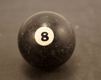 Vintage / Antique Clay Billiard Ball Black Number 8, Standard Pool Ball Size (c.1910s) - Collectible, Home Decor, Altered Art