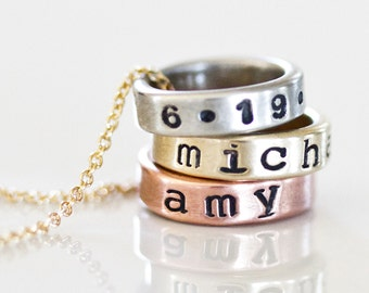 Name Necklace / Personalized / Gift for Mom / Personalized Name Necklace / Custom Stamp / Customized Necklace / Personalized Circles