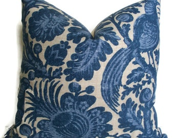 Blue French Country Pillow Waverly Tucker Resist Decorative Pillow Blue Batik Cover Blue Bird