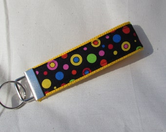 Keyfob wristlet / key chain /polka dots/fabric key fob