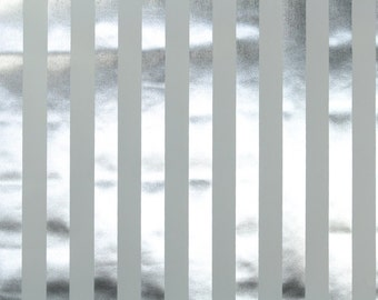 Retro Wallpaper by the Yard 70s Vintage Mylar Wallpaper - 1970s White and Silver Stripe