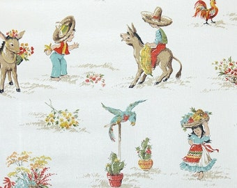 Retro Wallpaper by the Yard 70s Vintage Wallpaper - 1970s Blue Red and Yellow Mexican Kitchen with Boy Donkey Parrot Rooster and Flowers