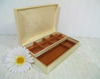 Vintage Ivory Silk Fabric Covered 2 Piece Jewelry Box with Soft Brown Velveteen Sectioned Interior & Matching Lift Out Tray for Storage Case