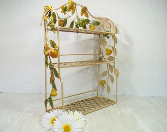 Wrought Iron Shelf Hanging Gorgeous Basket Weave Display Shelves & Wrought Iron Applied Flowing Vines of Metal Leaves and Chalkware Fruit