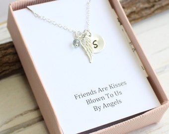 Sterling Silver Angel Wing Necklace with Friendship Sentiment Card