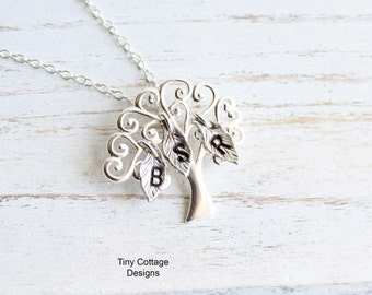 Whimsical Sterling Silver Tree with Initial Leaves... You Choose How Many Leaves