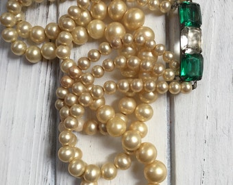 Vintage 1920s 30s faux pearl necklace jeweled sterling clasp
