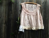 romance victorian layer french soft pink ecru shabby gypsy boho gauzey rustic boho flower girl barn wedding princess eco gypsy cami top bra