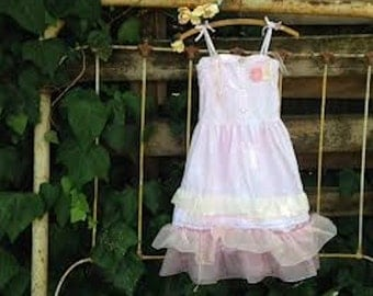 CUSTOM EXAMPLE made to order fairy tale soft pink shabby ivory gauzey rustic boho flower girl lace ruffles princess eco gypsy ecru dresses