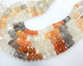 8 Inches Top Quality Multi Moonstone Faceted Roundelle  Beads Size 8mm Approx 100% Natural