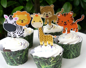 Jungle Safari Party Cupcake Toppers Set of 12- Birthday or Baby Shower- Kawaii Zebra, Giraffe, Tiger, Lion, Monkey, Hippo, Cheetah, Elephant