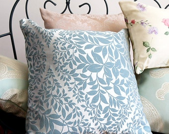 Leaf Design Cushion in Sage Green and Silver | Home Decor