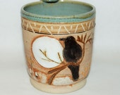 Handmade Stoneware Pottery Mug / Black Bird in the Moonlight