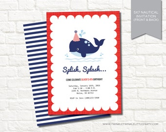 Nautical Red and Navy Whale Theme Digital Birthday Party Invitation