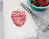 Sale - Strawberry Tea Towel - Kitchen Towel - Flour Sack Tea Towel - 100% Cotton Dishcloth - Fruit Kitchen Towel - Eco-Friendly Gift