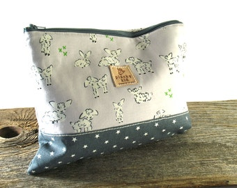 Grey Lamb Print Knitting Project Bag, Needle Case, Cotton, Made to Order