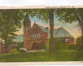 "Vermont, Vintage Postcard, ""Billings Library, Burlington, Vt.""  1940s-50s,  #766"