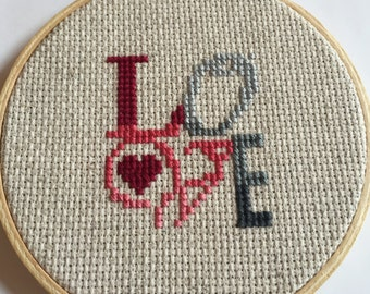 Love Wall Hanging/Love Wall Art/Counted Cross Stitch Wall Hanging/Embroidery Hoop Art/Love Cross Stitch/Cross Stitch Love/Cross Stitch Gift