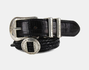 BRIGHTON Black CONCHO Braided Leather Belt Vtg 90's Silver Skinny Country Western Native American Studded Rocker Statement - Small/Medium