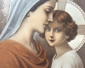 Vintage French Religious Souvenir Picture dated Noel 1937