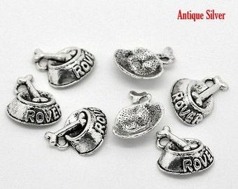10 ROVER Dog Bowl Charm Pendants . dog bone, silver pewter metal, chs1827