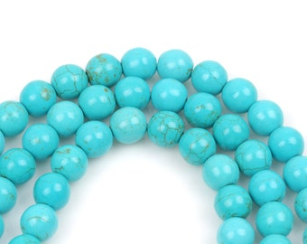 3mm Howlite Stone Beads, ROUND Ball, TURQUOISE BLUE, full strand, how0644
