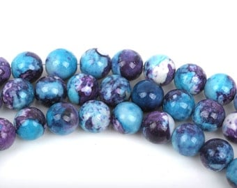 6mm MOSAIC HOWLITE Round Beads, turquoise blue, purple, white, full strand, about 63 beads, how0484