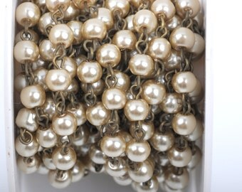 1 yard Taupe Light Brown Pearl Rosary Chain, bronze wire, 6mm round glass pearl beads, fch0413a