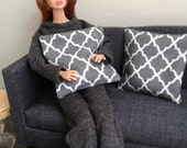 Set of 2 trendy geometric pillows in grey and white for one sixth scale dioramas