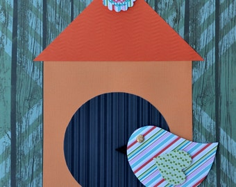 "Handmade Original Paper Collage - 12"" x 12"" - Bird and Birdhouse - Mixed Media Collage 2016-10"