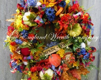 Fall Wreath, Autumn Wreath, Whimsical Fall, Fall Floral, Thanksgiving, Pumpkin Wreath, Halloween Wreath, Designer Fall, Harvest Wreath