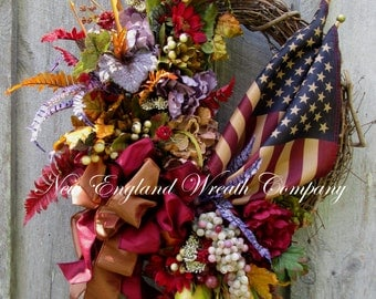 Fall Wreath, Autumn Wreath, Patriotic Wreath, Williamsburg Wreath, Elegant Patriotic Wreath, Fall Floral Wreath, Tea Stained Flag
