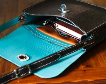 Horween Satchel with robin's egg blue lining, jacobson leather, made in usa