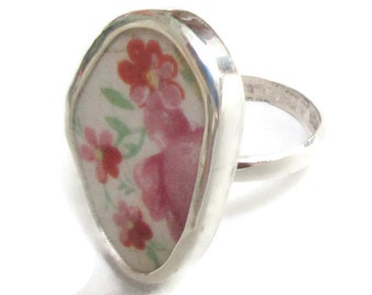 Broken China Jewelry, Ring, Sterling Silver, Pink Flowers, Any Size, OOAK, China Shard, Pottery, Chaney, Floral