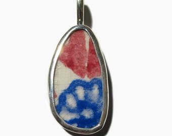 Upcycled Jewelry, Broken China , Abstract  Pendant , Sterling Silver Necklace, Chaney, Broken Plate, Recycled, , OOAK, Blue, Red