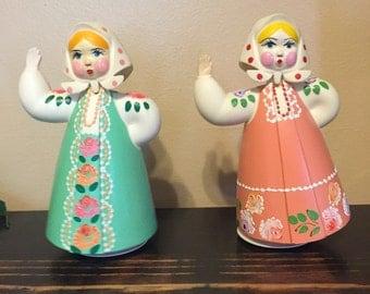 Russian nodder doll, Babushka doll, bakelite doll, bobble head doll, vintage russian doll, made in USSR, USSR doll, old Russia, folk doll