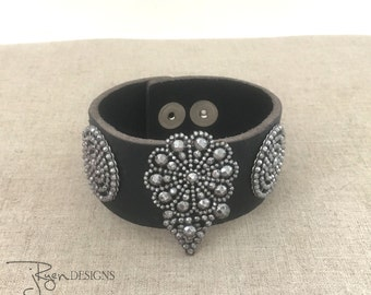 Black Leather Cuff Bracelet, French Cut Steel Bracelet, Unique Repurposed Bracelet, Antique Cut Steel, Handmade Unique Jewelry Gift For Her