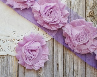 "Lilac Light Purple Shabby Rose Trim 2.5"" Shabby Chiffon Flowers - Solid Shabby Chic Trim Wholesale Rosette trim 6cm 1 yard  #507"