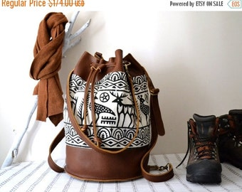WINTER SALE Leather Bucket Backpack, Leather Messenger Bucket Bag, Convertible Leather Duffel Bag, Leather Weekender Bag, Gift For Him,  Men