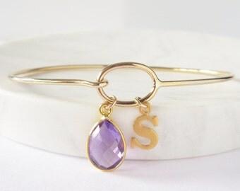 Initial Bracelet - Personalized Bracelet - Birthstone Bracelet - New Mom Bracelet - Gold Bracelet - Charm Bracelet